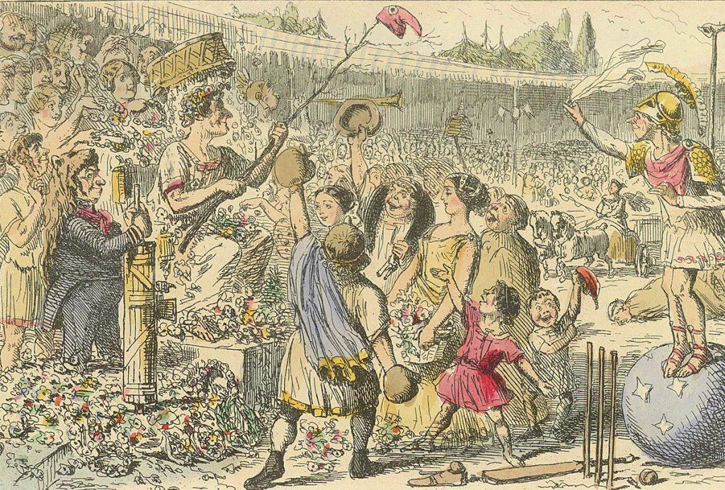 Flamininus przywracający wolność Grekom podczas igrzysk istmijskich.