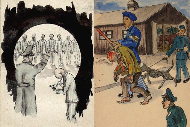 Grafiki wykonane przez byłych więźniów Auschwitz.