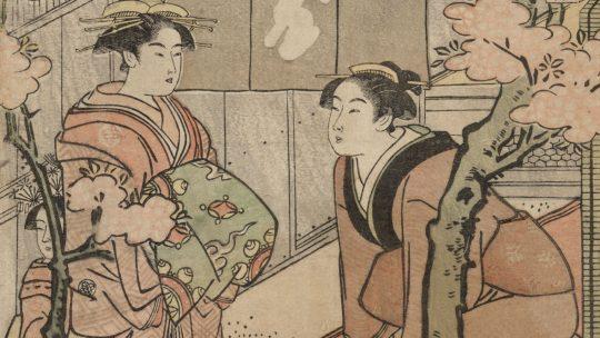 Hanami na barwionym drzeworycie z końca XVIII wieku.