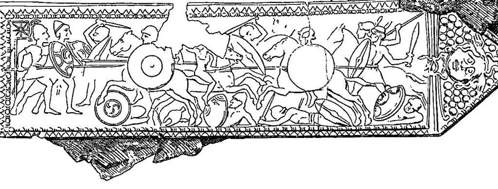 Hellenistyczna płaskorzeźba z brązu przedstawiająca bitwę pod Magnezją.
