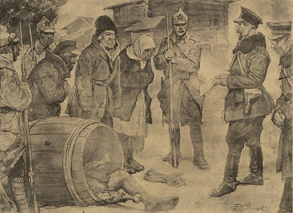 Ilustracja z 1922 roku przedstawiająca aresztowanie kanibali w ZSRR (domena publiczna).