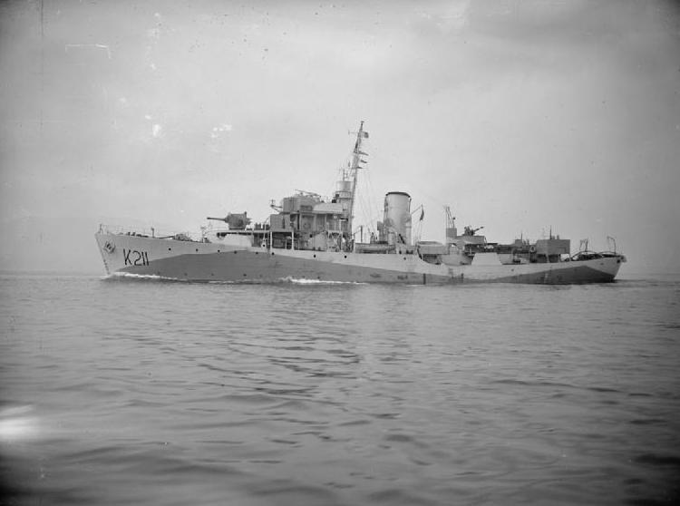 Korweta HMS Snowflake na zdjęciu z okresu II wojny światowej (domena publiczna).