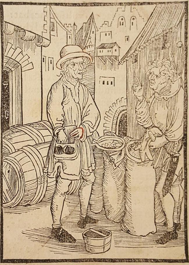 Lichwiarz na drzeworycie przypisywanym Albrechtowie Dürerowi (domena publiczna).