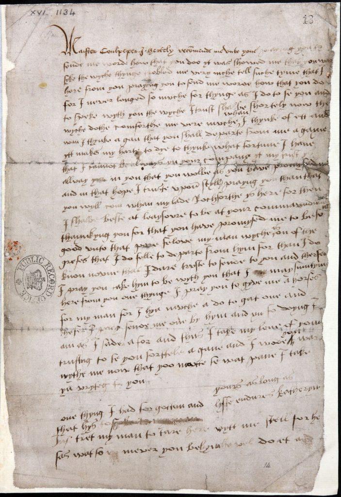 List wysłany przez Katarzynę Howard do Thomasa Culpepera (domena publiczna).