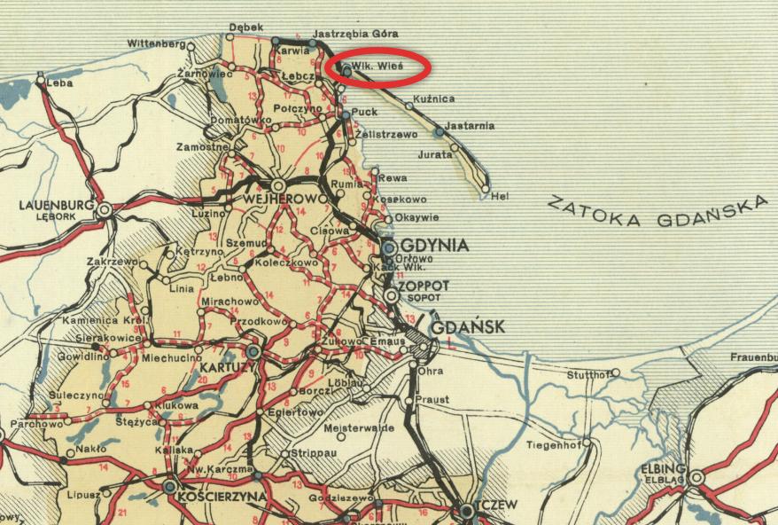 Lokalizacja portu Władysławowo na mapie samochodowej Polski z 1939 roku.