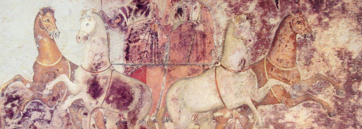Macedoński fresk z IV wieku przedstawiająca Hadesa i Persefonę.