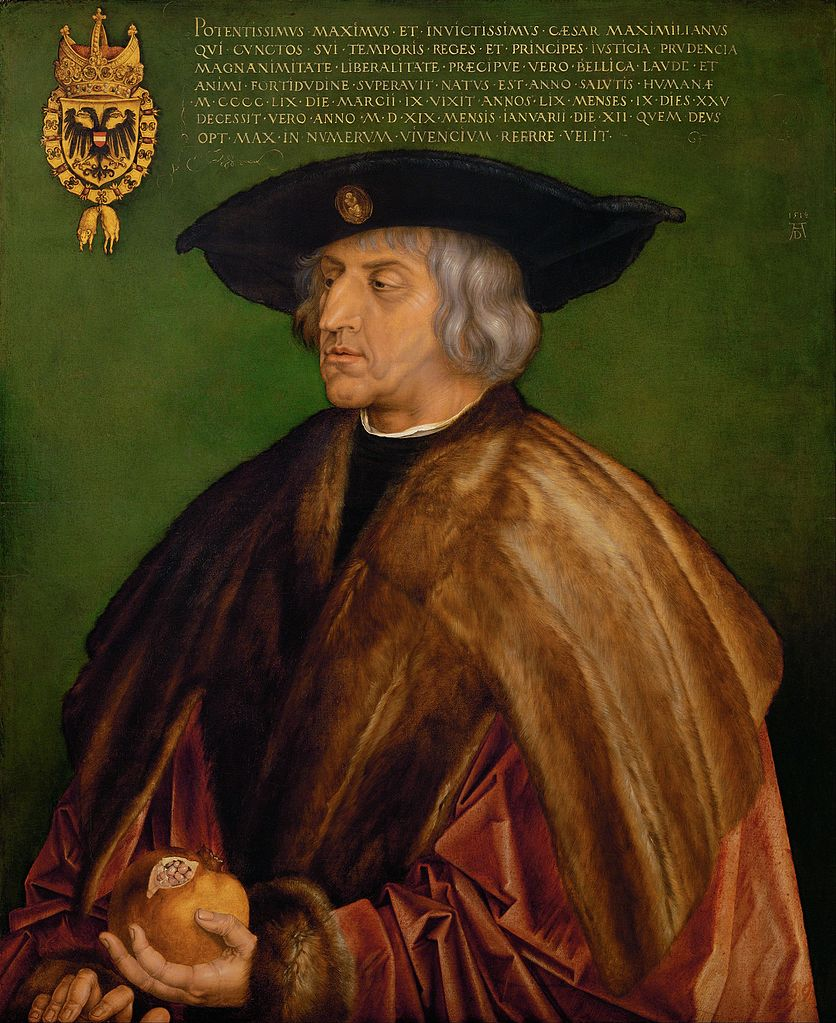 Maksymilian I Habsburg na obrazie Albrechta Dürera (domena publiczna).