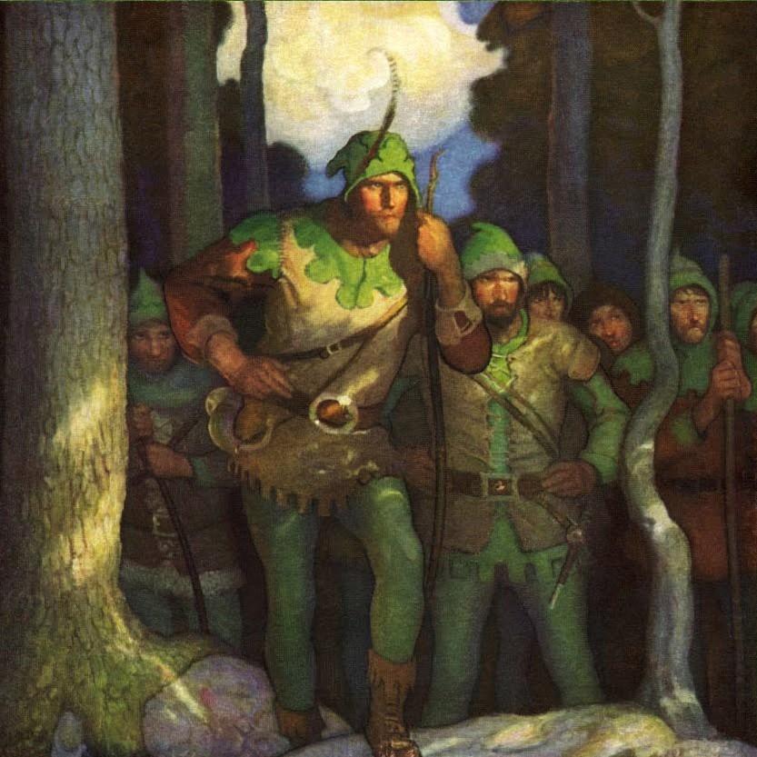 """Nie ma pewności czy Robin Hood naprawdę istniał. Wiemy za to że w Lesie Sherwood grasowała inna """"wesoła kompania"""" (N. C. Wyeth/domena publiczna)."""