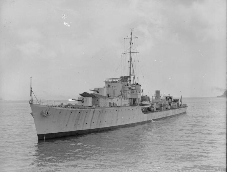 Niszczyciel HMS Oribi, którym dowodził Robert Sherwood (domena publiczna).