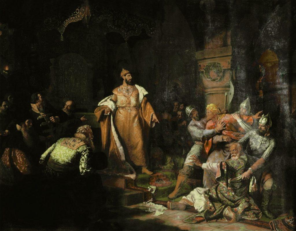 Obraz Nikołaja Szustowa przedstawiający Iwana III zrzucającego tatarskie jarzmo i rozkazującego zabić posłów chana (domena publiczna).