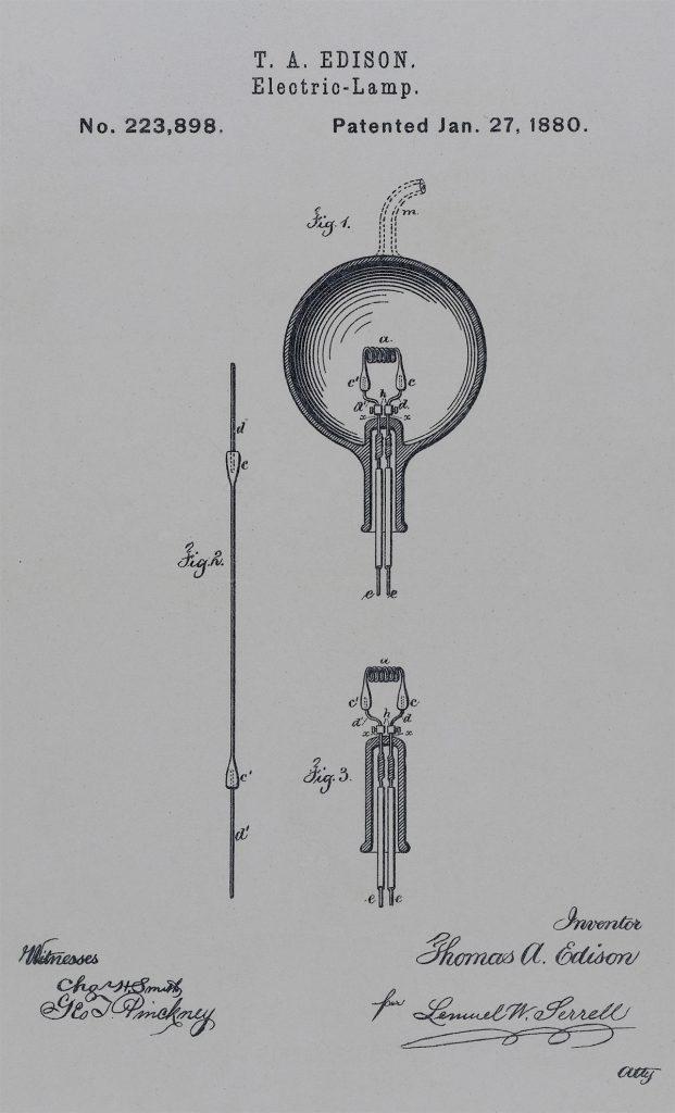 Patent na żarówkę. Dokument amerykańskiego Urzędu Patentowego nr 223 898
