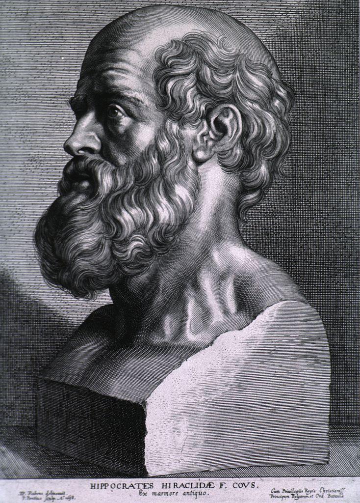 Popiersie Hipokratesa autorstwa Rubensa (domena publiczna).
