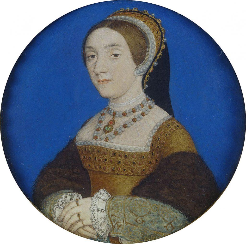 Portret młodej kobiety autorstwa Hansa Holbeina młodszego. Zwykło się przyjmować, że to podobizna Katarzyny Howard (domena publiczna).