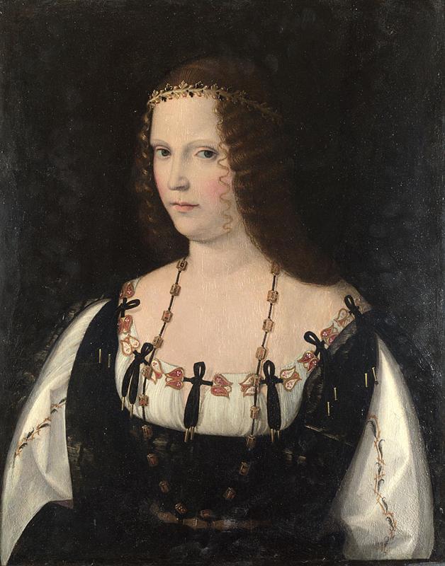 Prawdopodobny portret Lukrecji Borgi pędzla Bartolomeo Veneziano (domena publiczna).