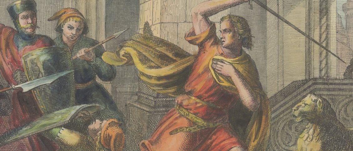 Przemysł II broniący się przed atakiem. XIX-wieczna grafika