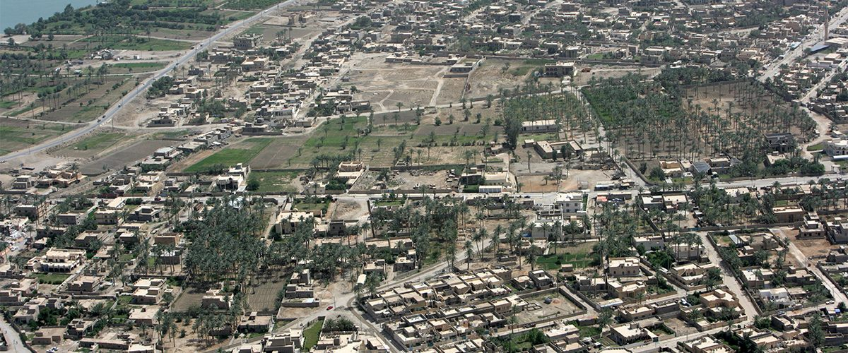 Ramadi w 2008 roku. Fotografia wykonana z amerykańskiego śmigłowca.