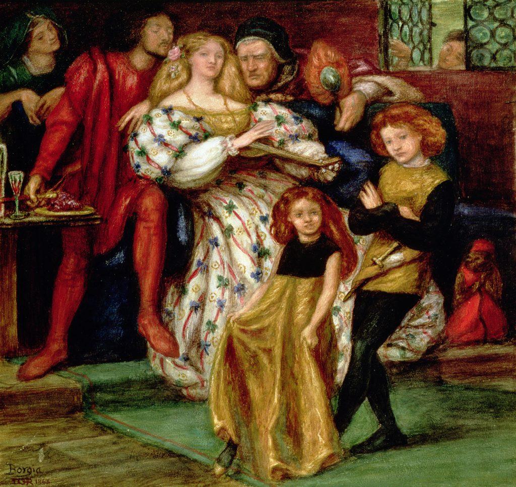 Rodzina Borgiów na obrazie Dantego Gabriela Rossettiego (domena publiczna).