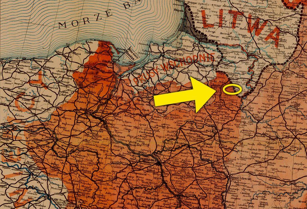Sejny zaznaczone na mapie Polski z 1919 roku.