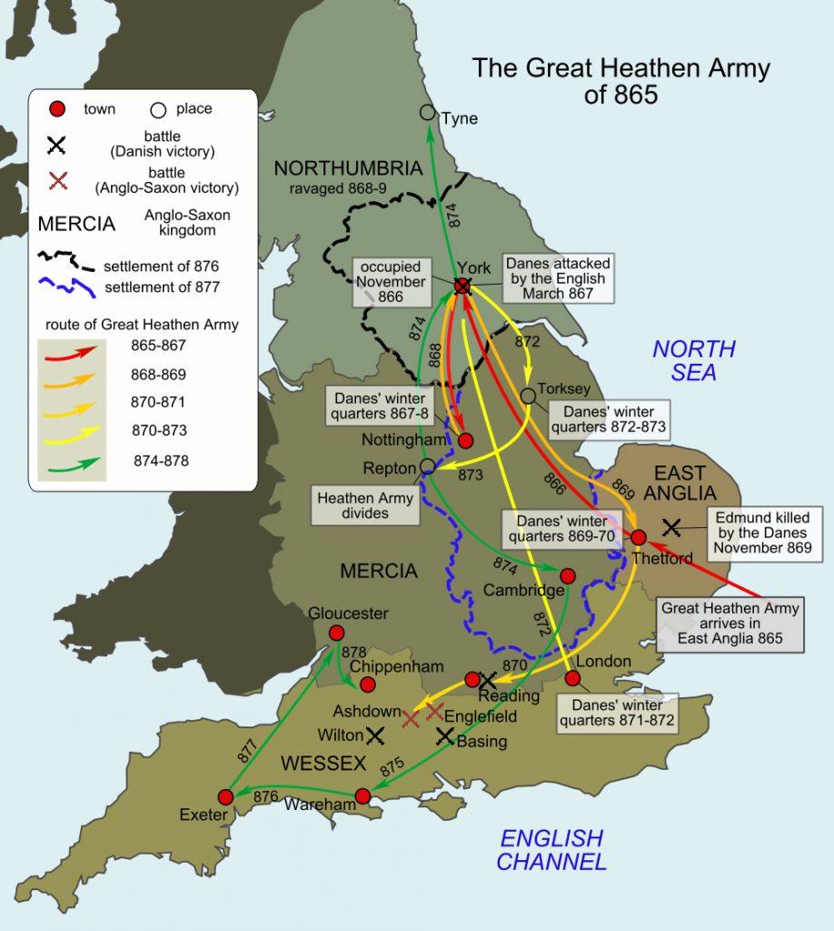 Szlak inwazji Wielkiej Pogańskiej Armii.