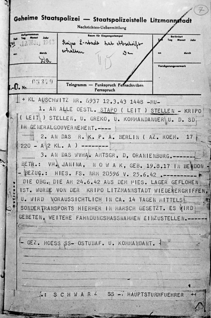 Telegram informujący o ponownym ujęciu Janiny Nowak