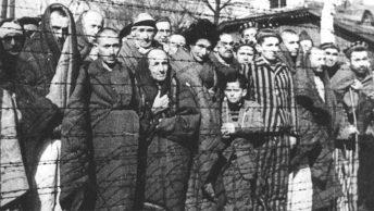 Więźniowie Auschwitz-Birkenau na zdjęciu wykonanym bezpośrednio po wyzwoleniu obozu.