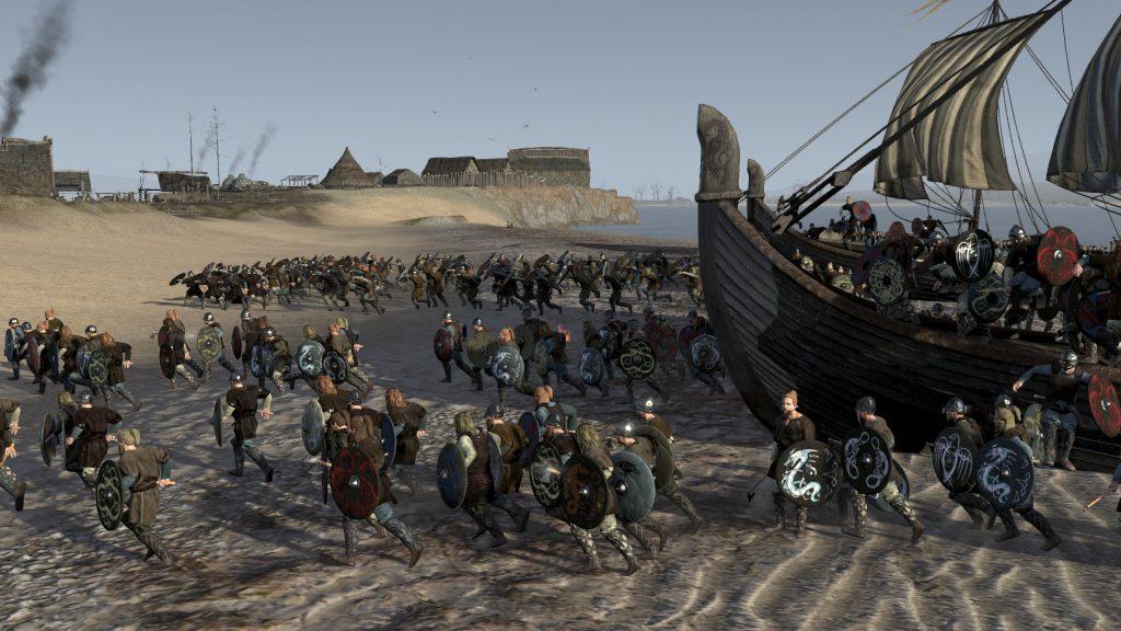 Wikingowie schodzą na brzeg w Anglii. Grafika z gry Total War Attila.
