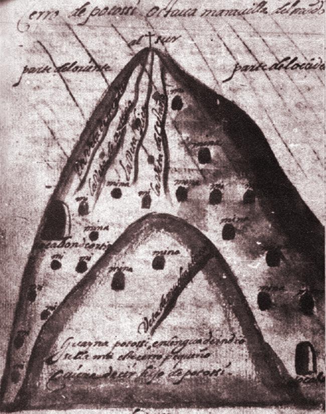 XVI-wieczna rycina przedtawiająca zryte szybami zbocza Cerro Rico (domena publiczna).