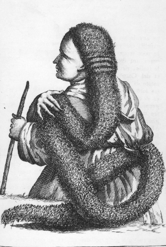 Miedzioryt z XVIII wieku przedstawiający kobietę z imponującym kołtunem (domena publiczna).