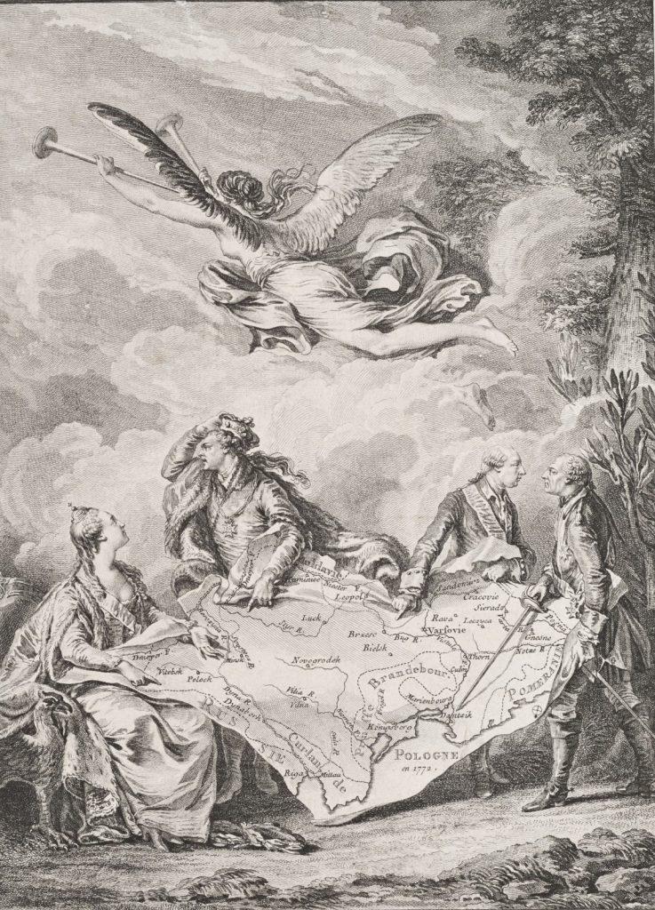 Alegoria pierwszego rozbiuru Polski (Noël Le Mire/domena publiczna).