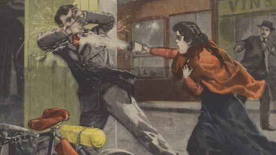 Atak kwasem na ilustracji prasowej z końca XIX wieku.
