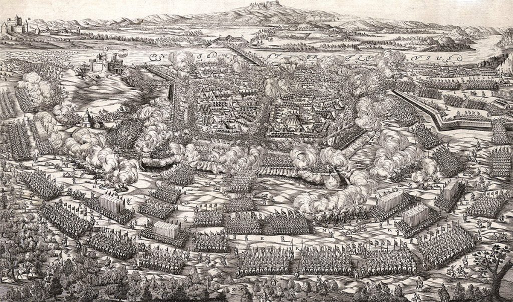 Bitwa pod Chocimiem w 1673 roku na grafice z XVIII stulecia.