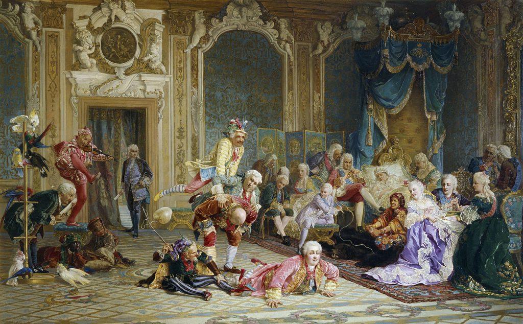 Dwór carycy Anny Iwanowny na obrazie Valerego Jacobiego (domena publiczna).