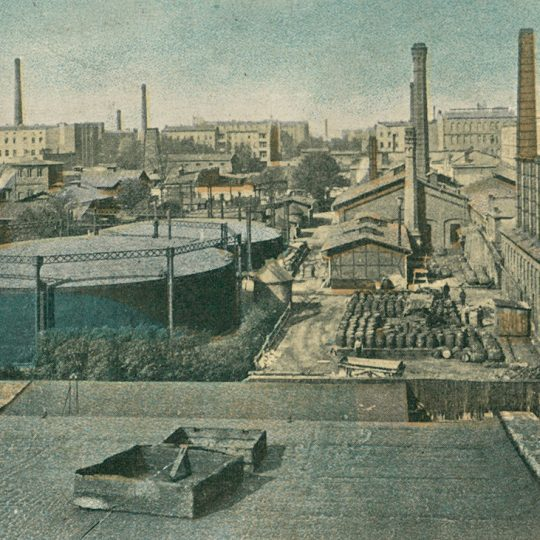 Gazownia w Łodzi na pocztówce z lat 1912-1916.