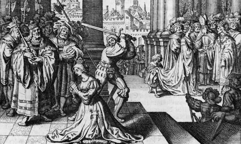 Henryk zgodził się, aby Annę ścięto mieczem (domena publiczna).