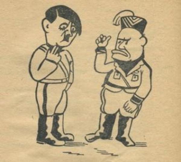 Hitler i Mussolini na karykaturze z okresu okupacji.