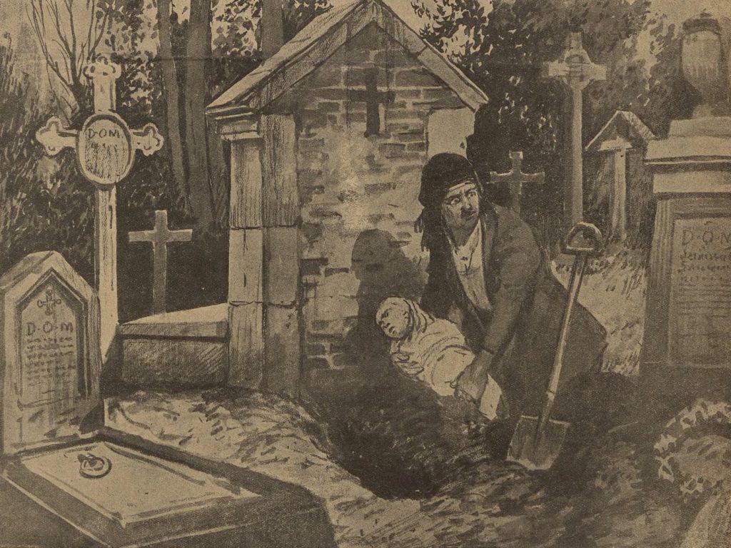 Ilustracja początku lar 20. XX wieku przedstawiająca matkę zakupującą żywcem 6-miesięczną córeczkę (domena publiczna).