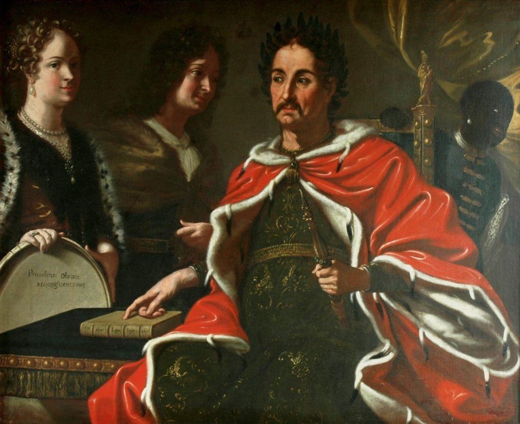Jan III Sobieski przekazujący synowi prawo do korony. Obraz z 1697 roku