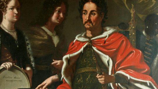 Jan III Sobieski przekazujący synowi prawo do korony. Obraz z 1697 roku - miniatura