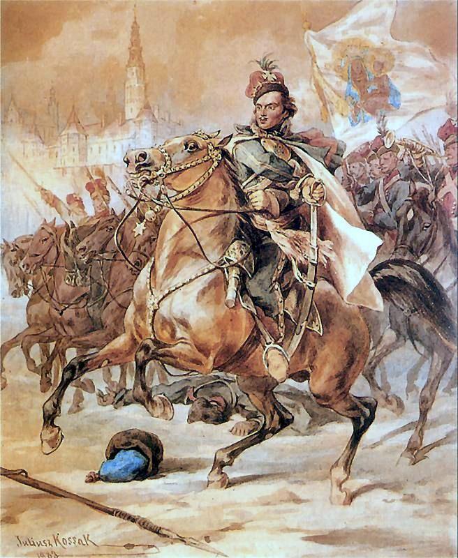 Kazimierz Pułaski na czele konfederatów barskich pod Częstochową (Juliusz Kossak/domena publiczna).