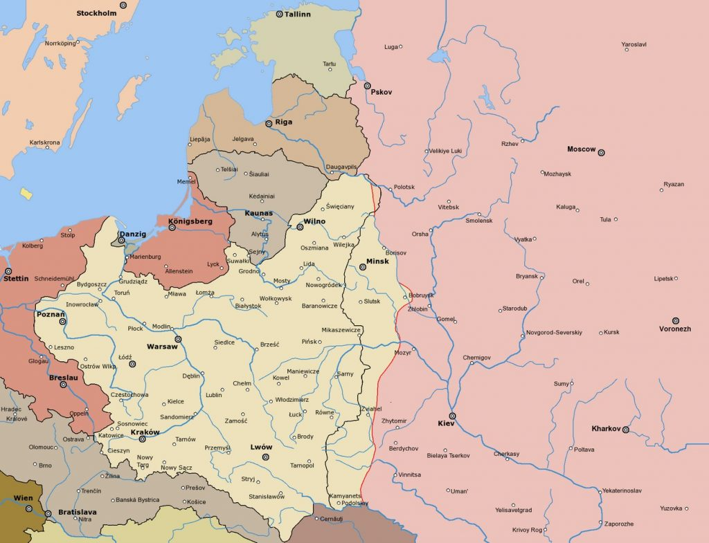 Przebieg linii frontu wojny polsko-bolszewickiej w grudniu 1919 roku (Przebieg linii frontu wojny polsko-bolszewickiej w grudniu 1919 roku (Halibutt/CC BY-SA 3.0).