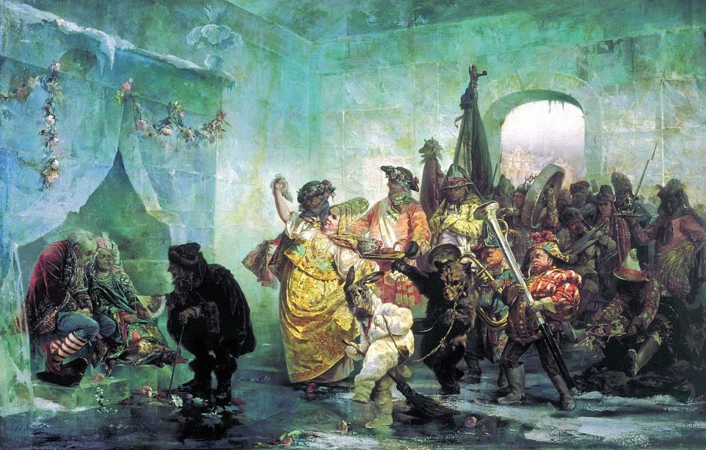 Lodowy pałac na obrazie Walerego Jacobiego (domena publiczna).
