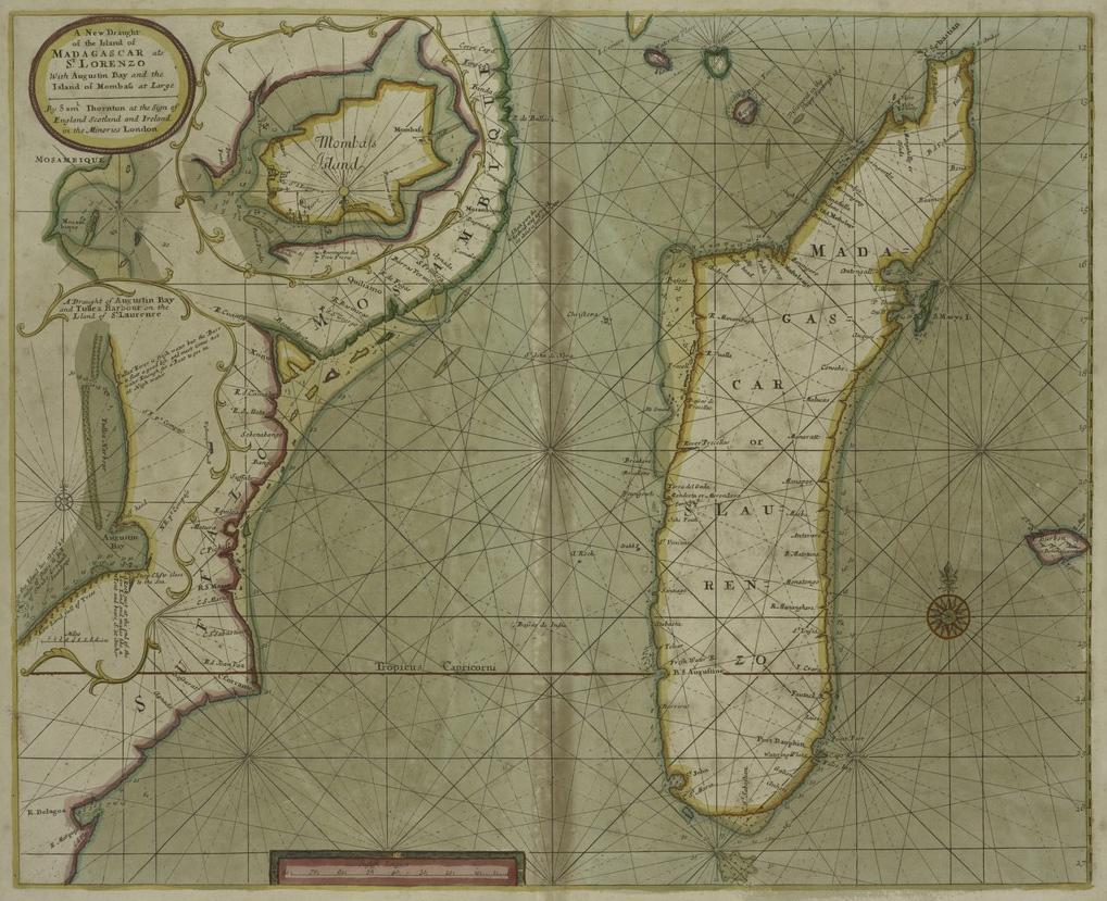Madagaskar na mapie z początku XVIII wieku.