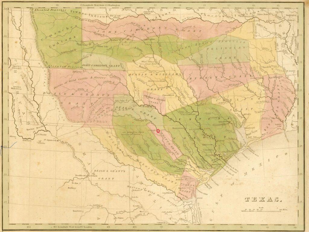 Mapa Teksasu z 1835 roku. Gonzales zaznaczone czerwonym kółkiem (Thomas Gamaliel Bradford/domena publiczna).