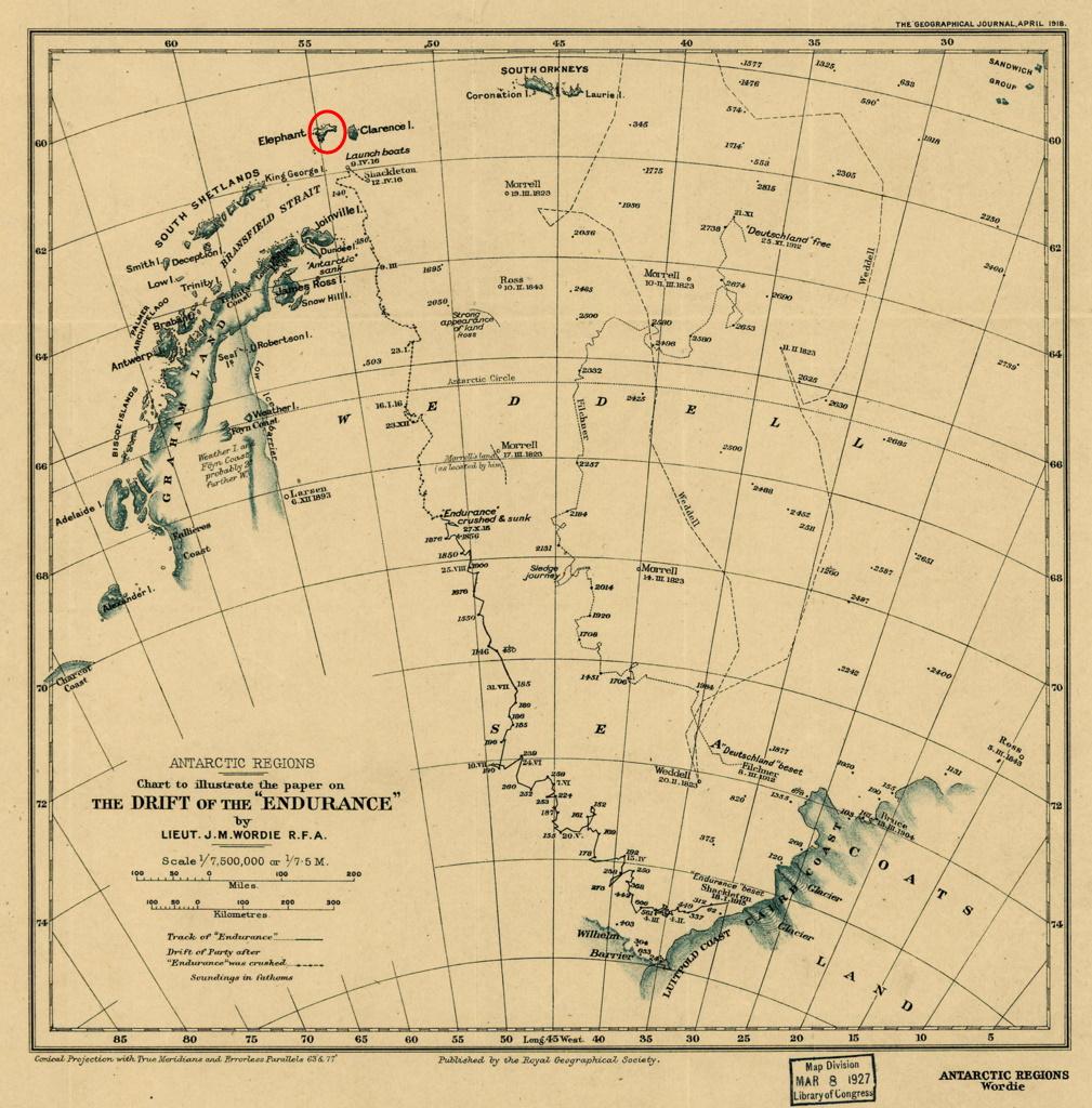Mapa pokazująca szlak jaki przebyli podróznicy. W czerwonym kółku Wyspa Słoniowa (domena publiczna).