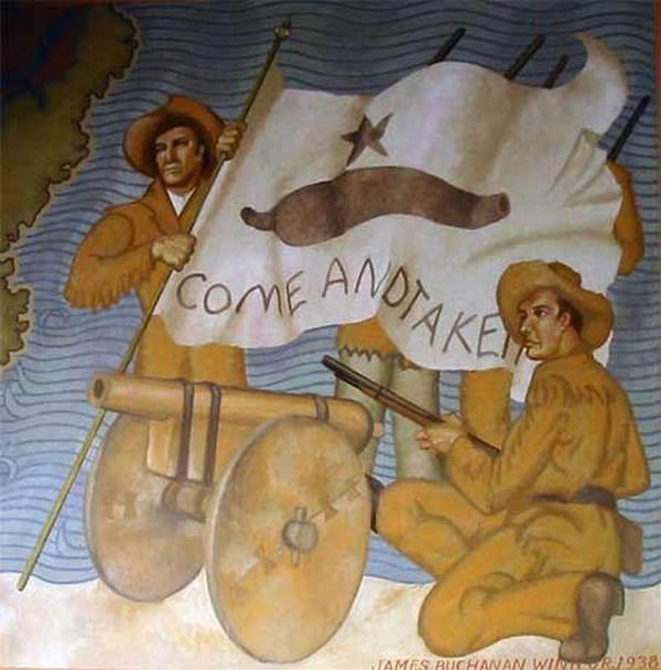 Mural w muzeum w Gonzales przedstawiających kolonistów i ich działo (J. Williams/domena publiczna).