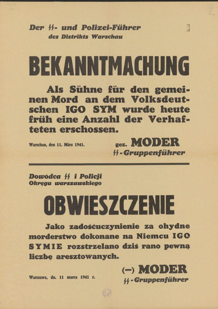 Obwieszczenie Modera z 11 marca 1941 roku (domena publiczna).