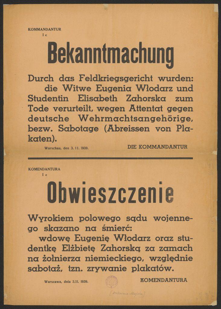 Obwieszczenie z 3 listopada 1939 roku o skazaniu na śmierć Eugenii Włodarz i Elżbiety Zahorskiej (domena publiczna).