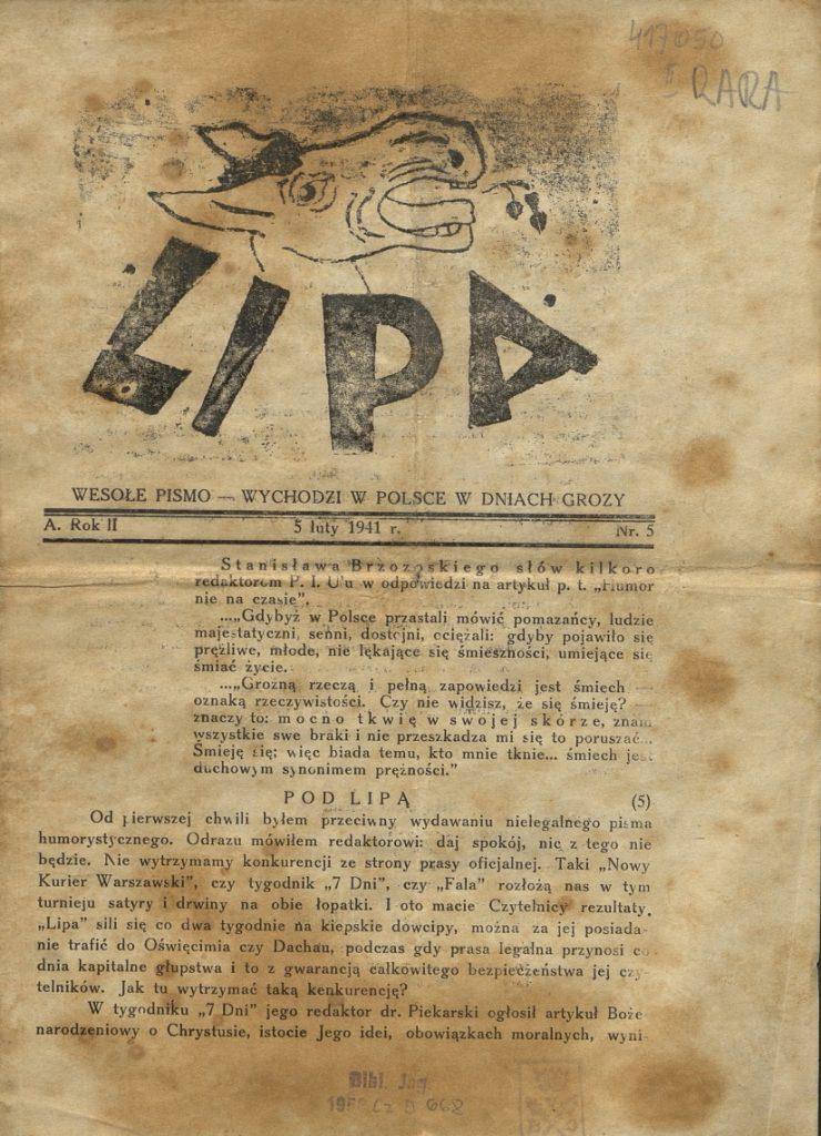 """Okładka satyrycznego pisma """"Lipa"""", które ukazywało się w 1940 i 1941 roku."""