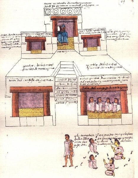 Pałac Montezumy II. Ilustracja z Kodeksu Mendoza z 1542 roku.