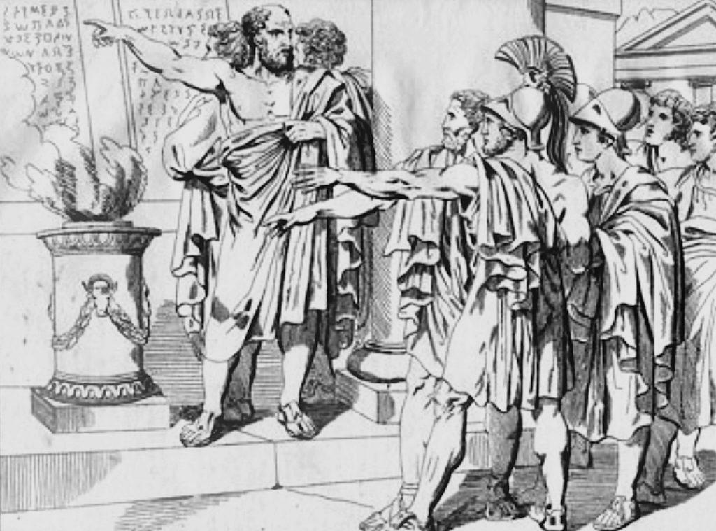Początkowo nikogo nie zadowoliły reformy Solona. Na ilustracji XIX rysunek przedstawiający Solona domagającego się przestrzegania jego praw (M. A. Barth/domena publiczna).